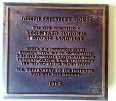 Plaque designating the Joseph Priestley House as a National Historic Landmark. Presented in 1965.