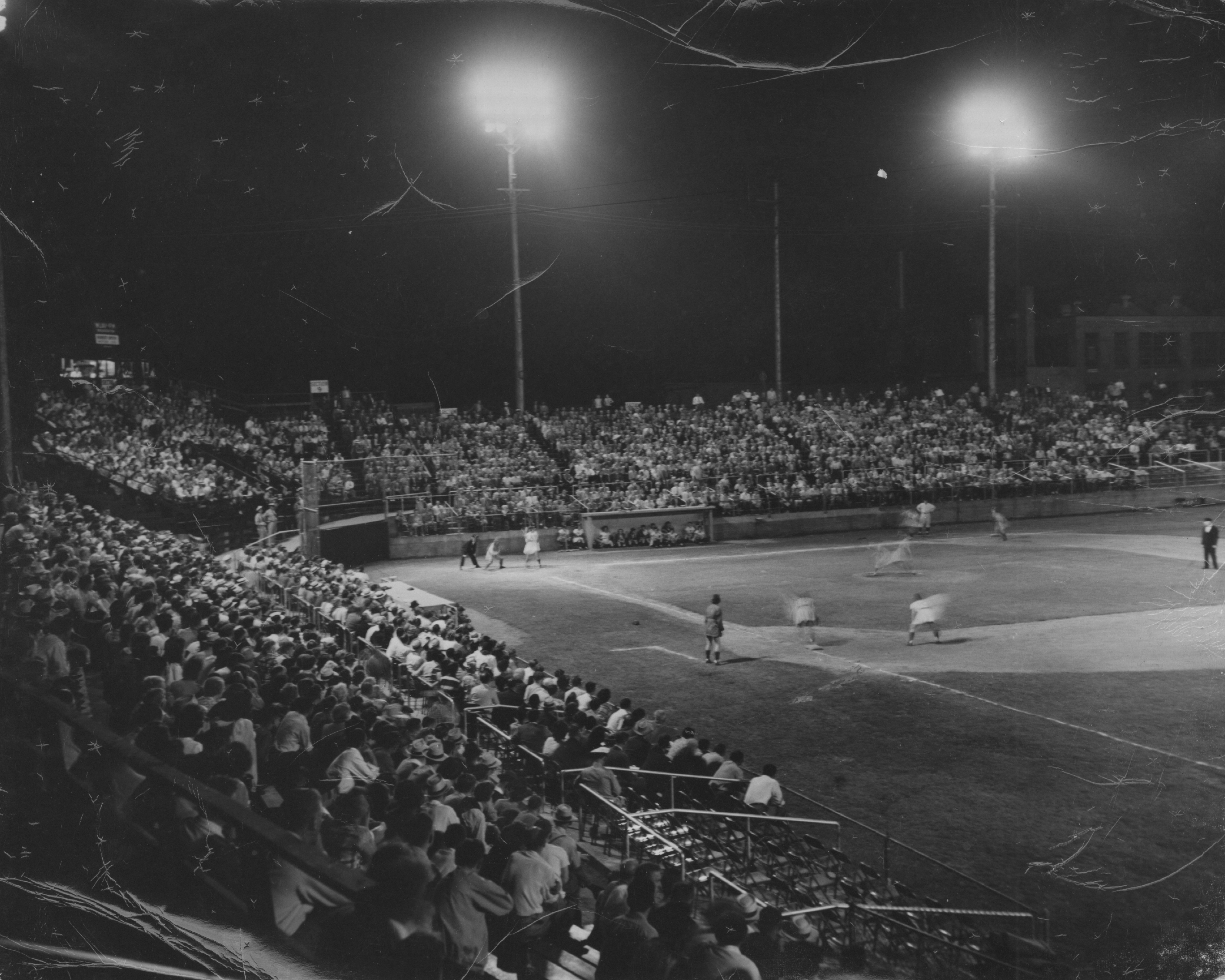 A game under the lights at Smith Field (Courtesy of the History Museum, South Bend)