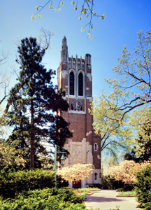 Beaumont Tower was built in 1928 and is an important symbol of the university.