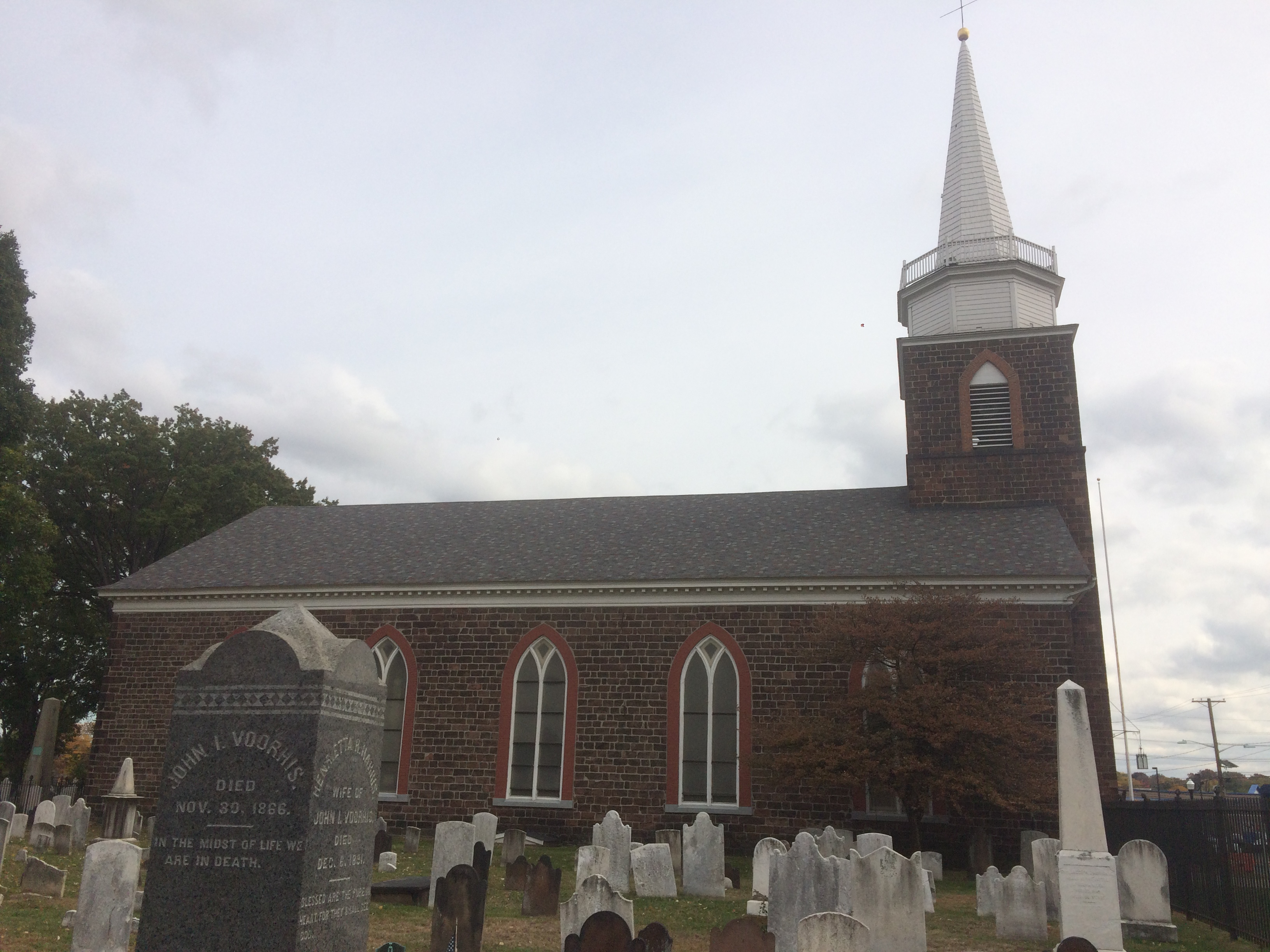 View of 1791 church building from attached cemetery.  Photo is taken from the southwest corner of the cemetery. (Photo credit: Angela Garra 10/27/2015)