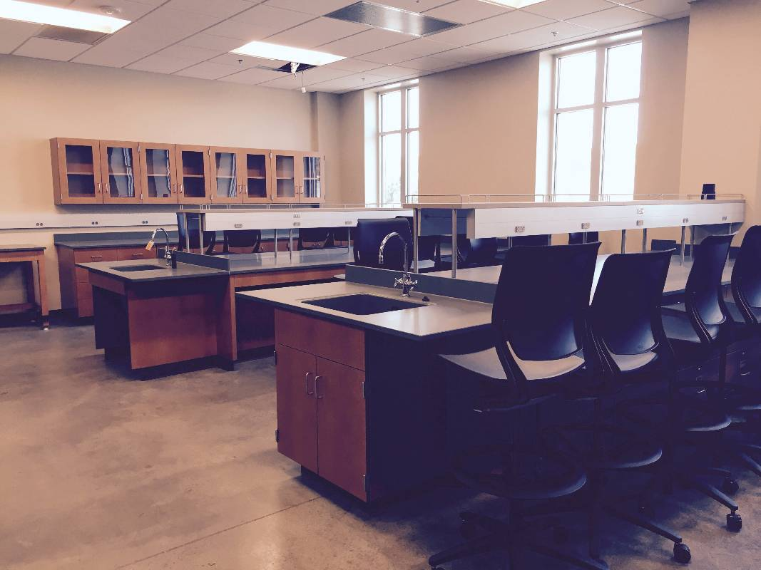 A peek inside one of the classrooms in the new Engineering Complex