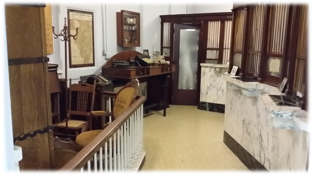 Kirkland Bank- A reproduction of a historic local bank.