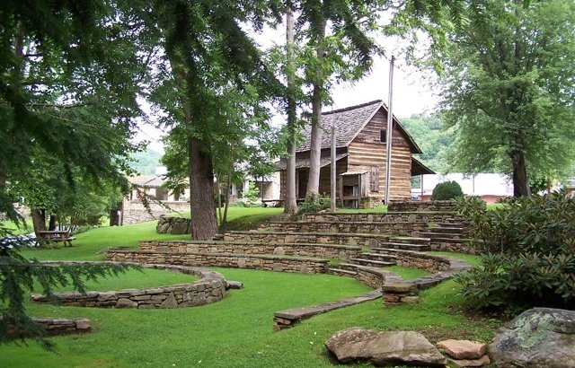 The Mountain Gateway Museum and Heritage Center is located in a building that was constructed by the WPA during the Great Depression. This picture displays one of the cabins and the outdoor amphitheater on the grounds.