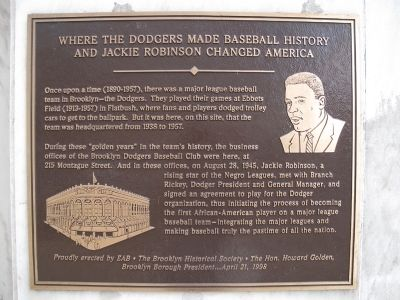 This historic marker at 215 Montague Street in Brooklyn was erected by EAB and the Brooklyn Historical Society. The plaque details the legendary meeting between Robinson and Rickey.