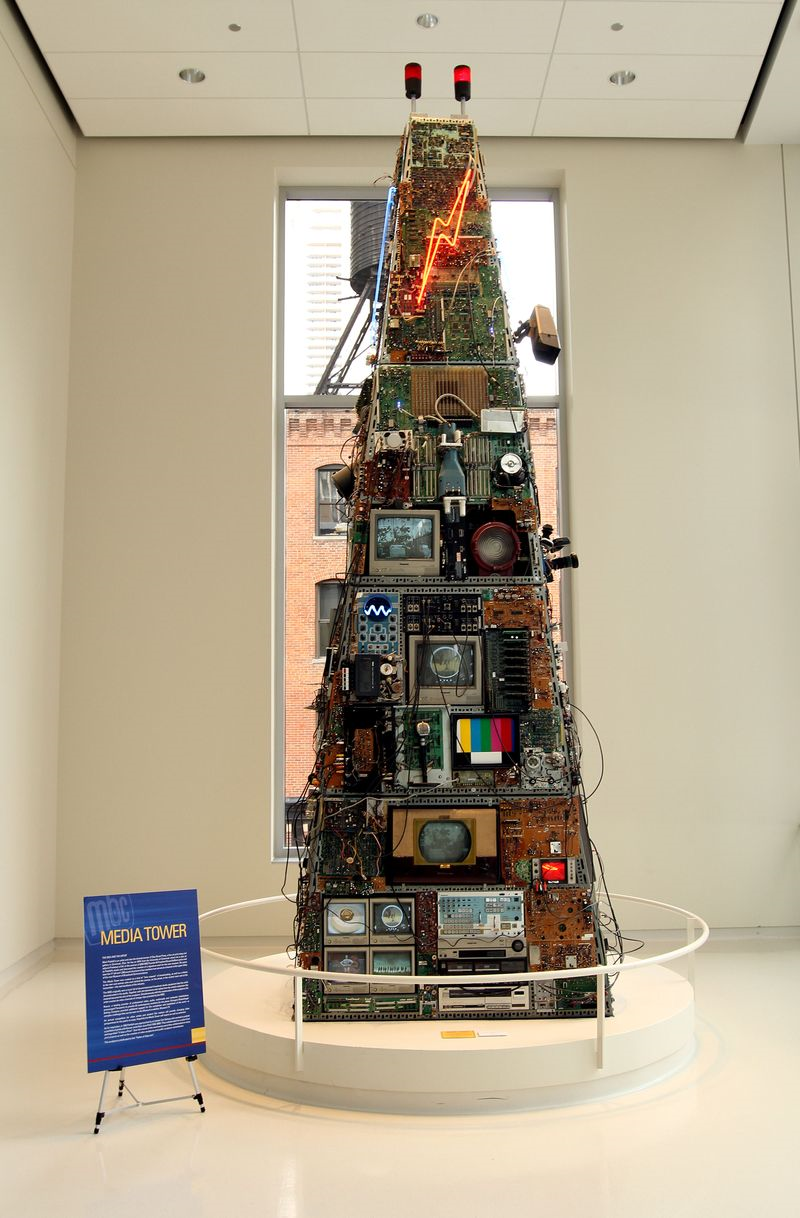 Designed by Mark Patsfall, this Media Tower sculpture is made of multiple vintage televisons and radios, some of which are still working. Image obtained from the Chicago Tribuune.