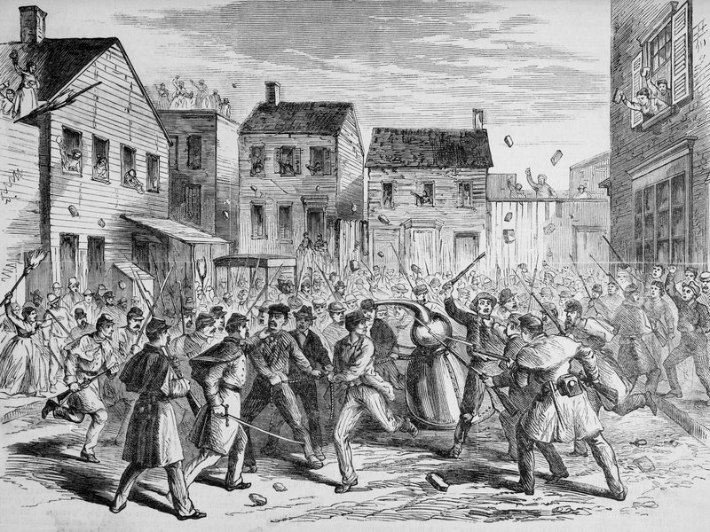 An illustration from Frank Leslie's Illustrated Newspaper that depicts soldiers raiding an illegal distillery in Brooklyn in 1869. (© Bettmann/CORBIS)