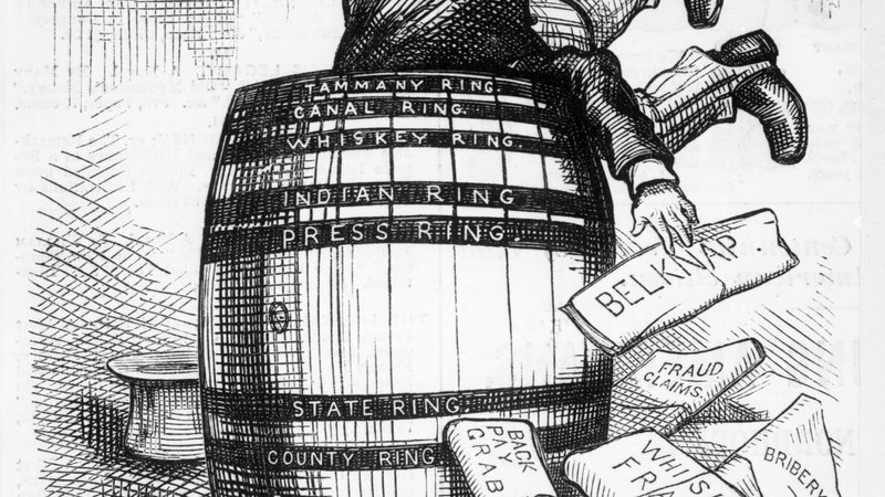 U.S. Secretary of War, William W. Belknap, dives into the Barrel of corruption. (He was impeached for malfeasancein office). Nast cartoon, 1876. (© Bettmann/CORBIS)
