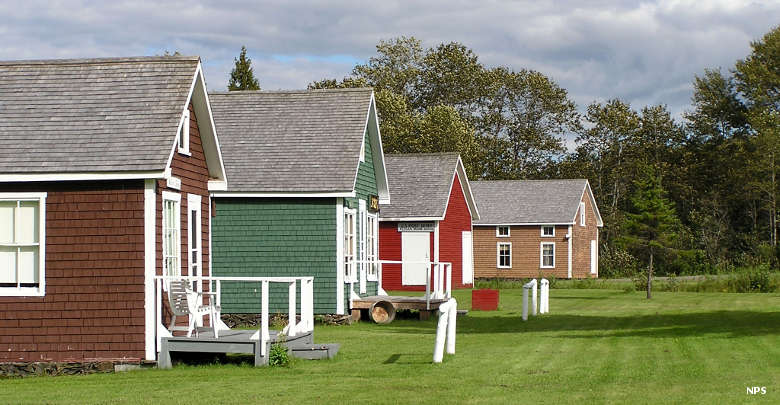 The Acadian village features six buildings including a schoolhouse and a blacksmith's shop.