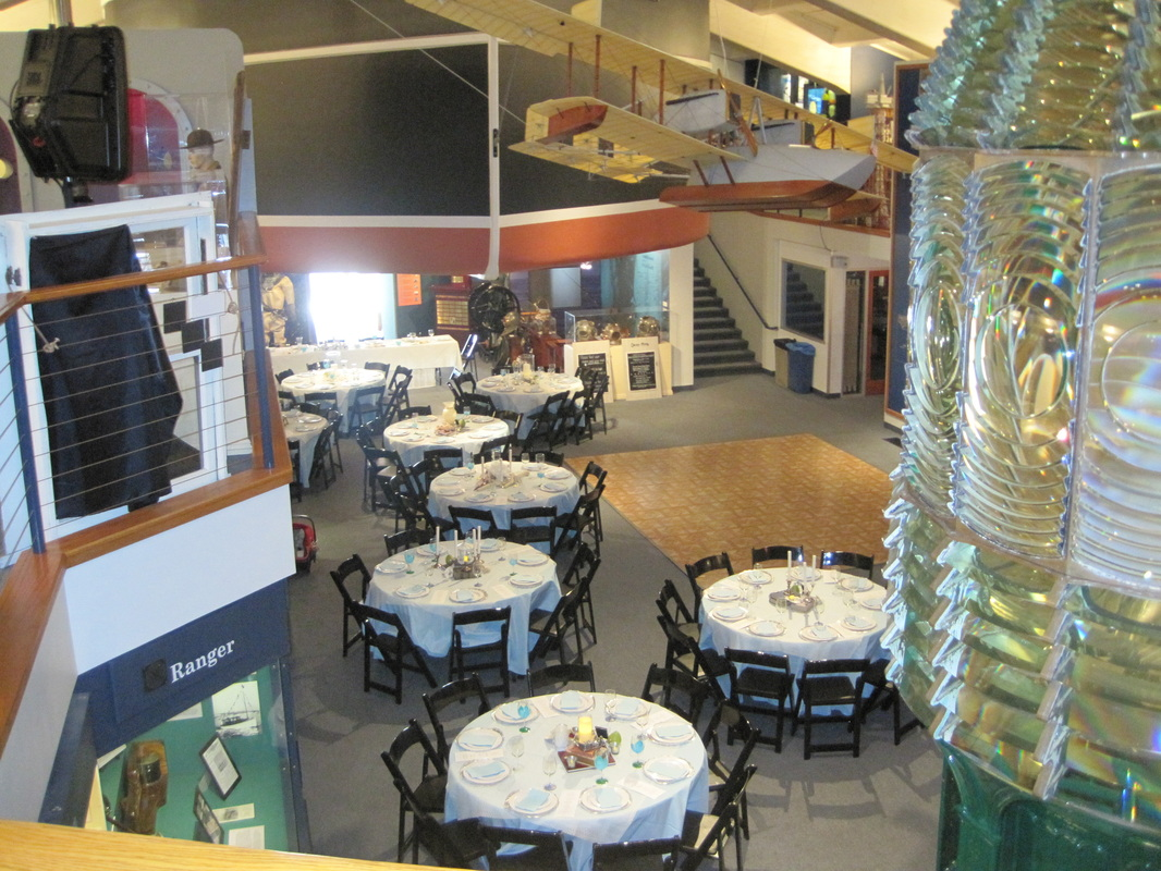 Museum set up for a special event with the Fresnel Lens in the foreground.