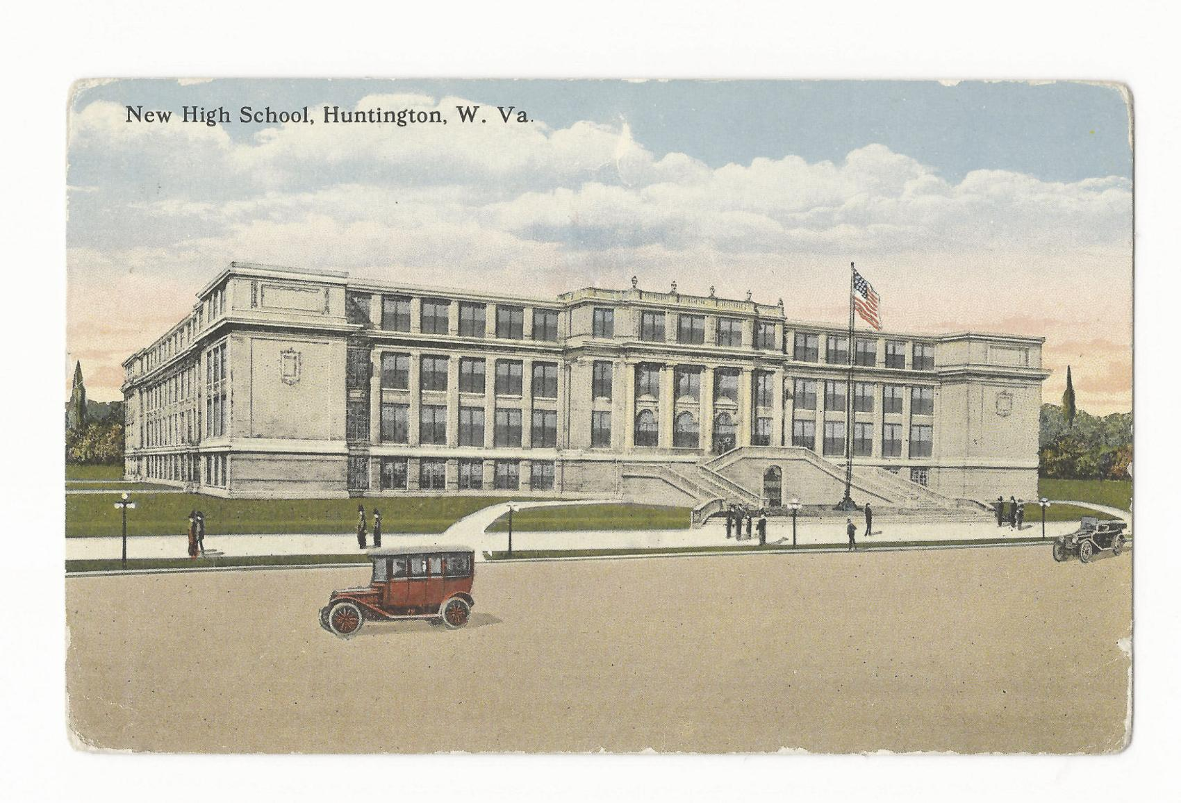 Postcard of Huntington High School, shortly after it opened in 1916