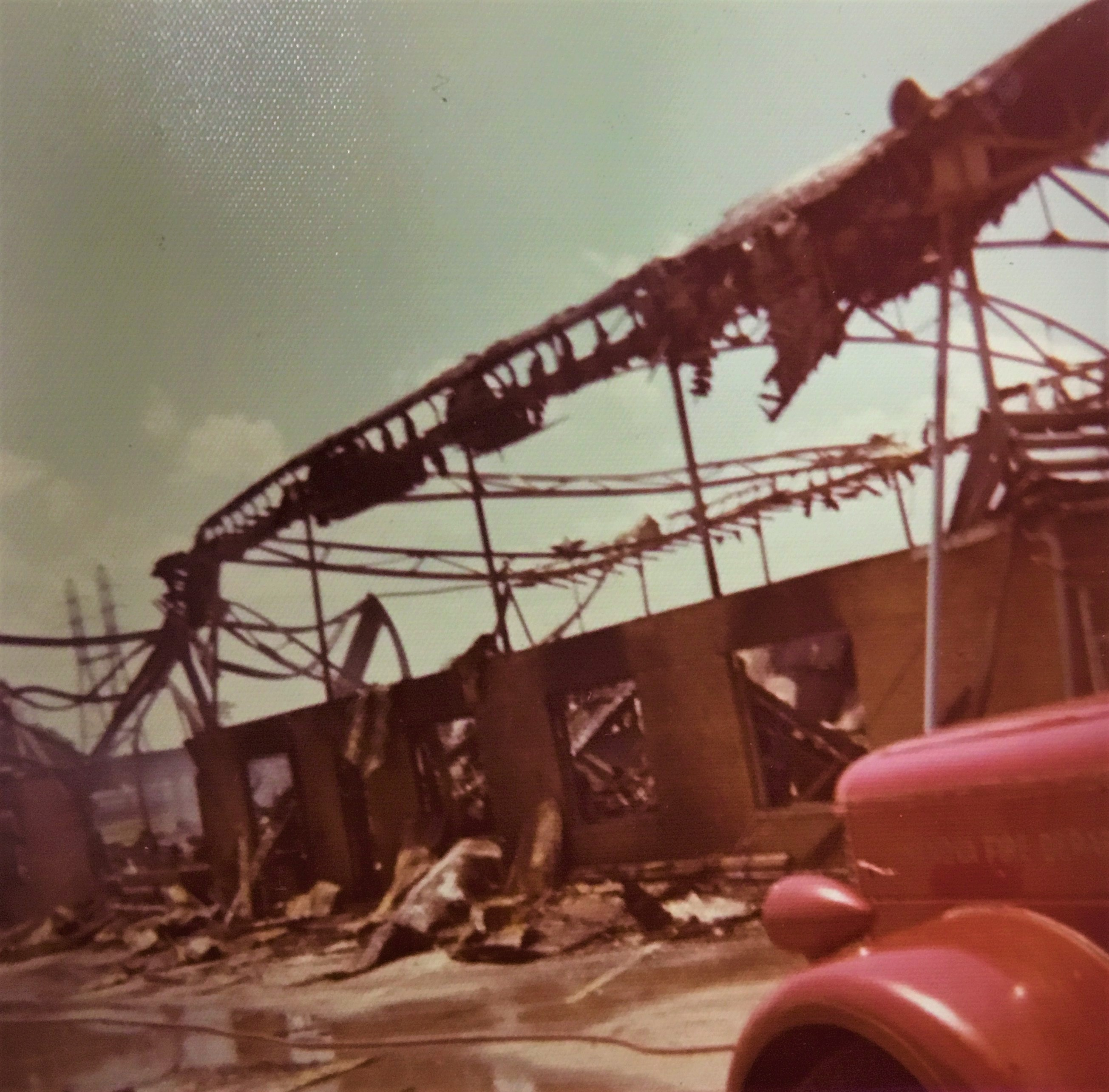 The pavilion in the aftermath of the 1973 fire. Courtesy of the Ceredo Historical Society Museum.