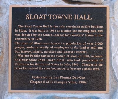 Photograph of Sloat Towne Hall Marker, courtesy of Barry Swackhamer