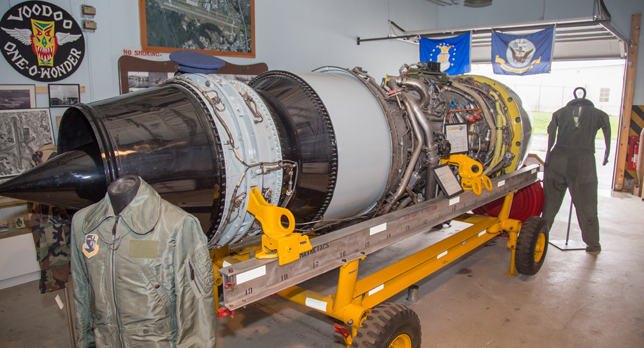The museum hold a number of artifacts and memorabilia, including this large jet engine.