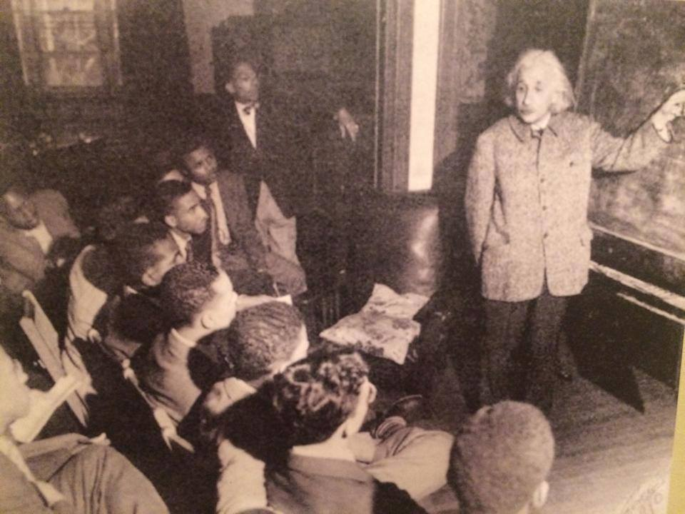 Einstein teaching a physics course at Lincoln University, a HBCU in Pennsylvania.