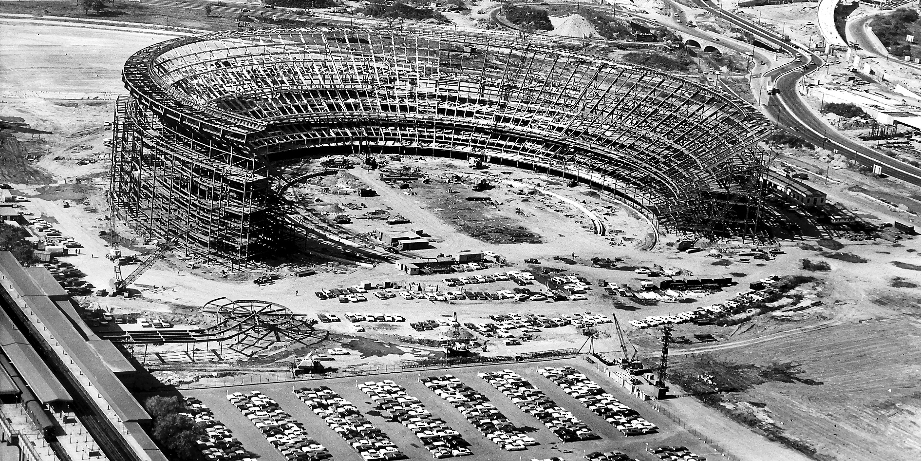Construction of Shea Stadium from the 1960s