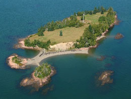 Aerial view of Saint Croix Island International Historic Site