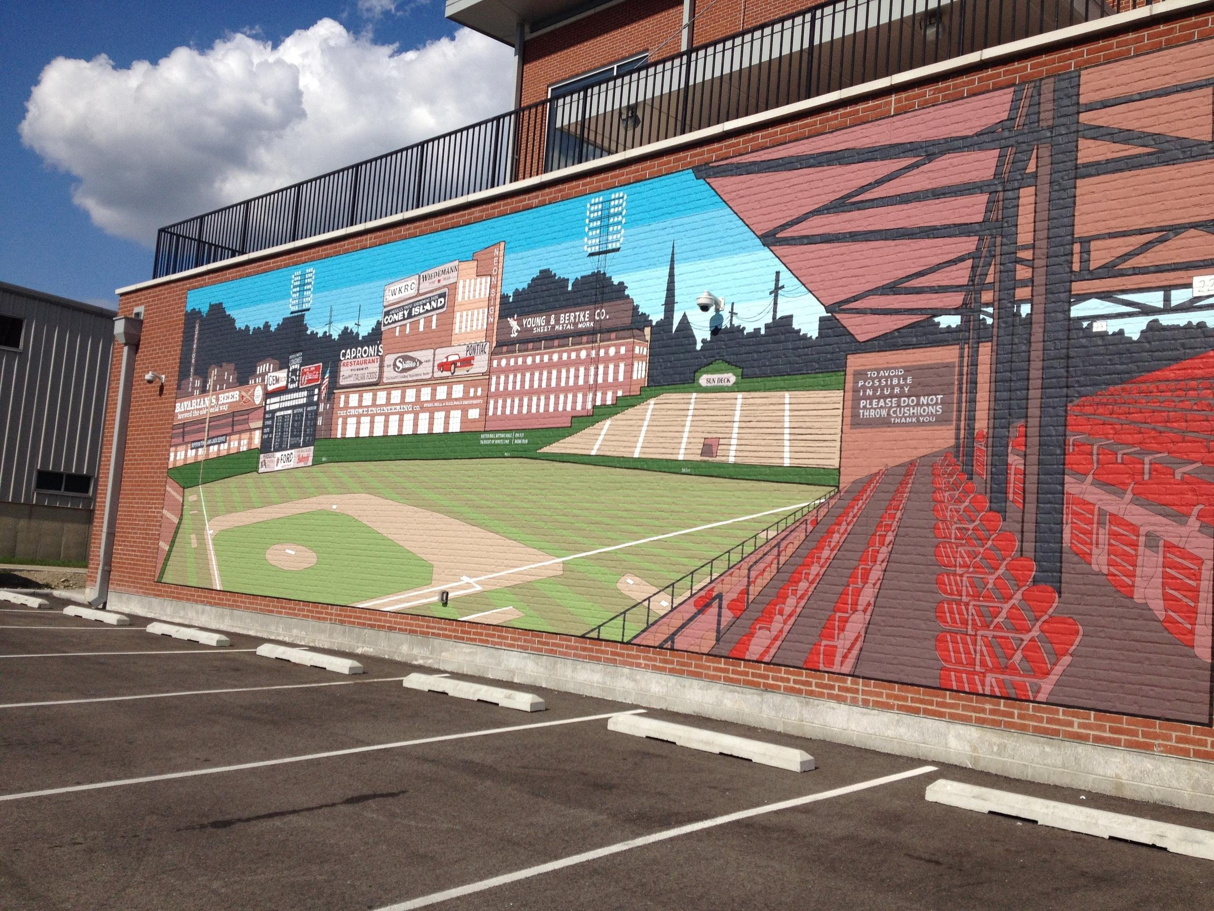 City Gospel Mission is located where Crosley Field once stood and in 2016 the Mission created this mural on the side of their building to honor the former ballpark.