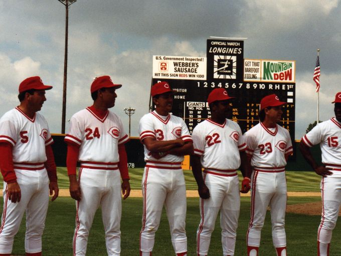Members of the Cincinnati Reds Big Red Machine Team Line Up for Reunion at Blue Ash Crosley Field in 1991
