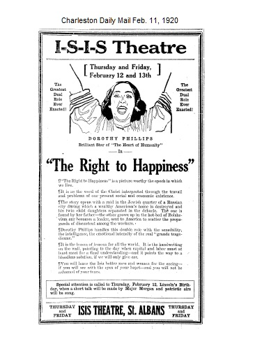 Flyer - Original St. Albans Theater, the Isis, in 1920. Burnt in 1930s. Was located beside the Odd Fellow Building on B St. and Main.