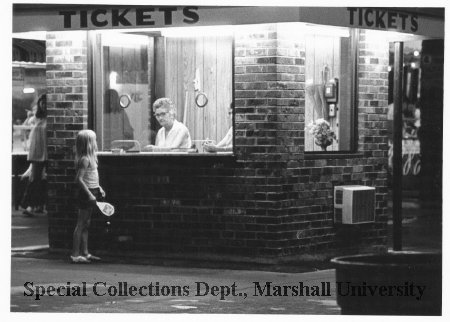 Camden Park's ticket booth, circa 1975. Marshall Special Collections.