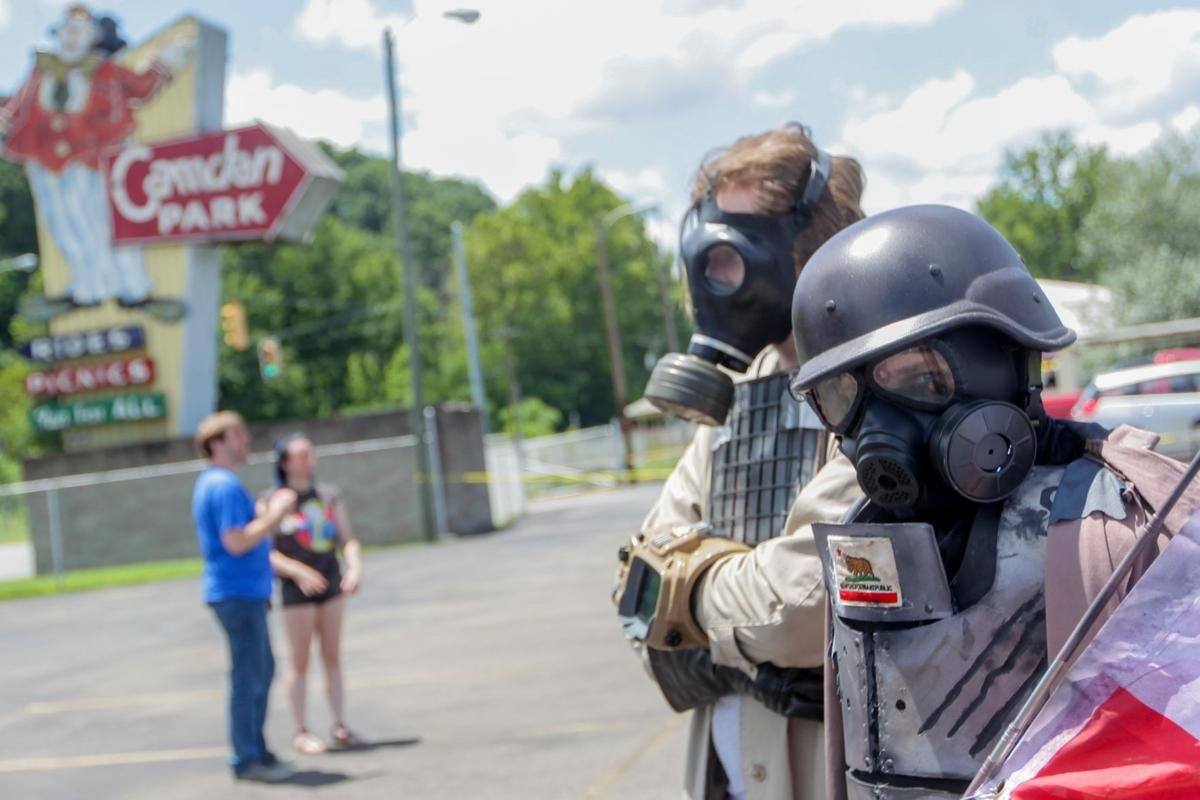 Fallout fans gather at Camden Park in July 2018 after Bethesda's announcement and release trailer at the E3 Conference weeks prior reveal Camden Park as a location in the newest Fallout game. (Huntington Dispatch-Herald, Ryan Fischer).