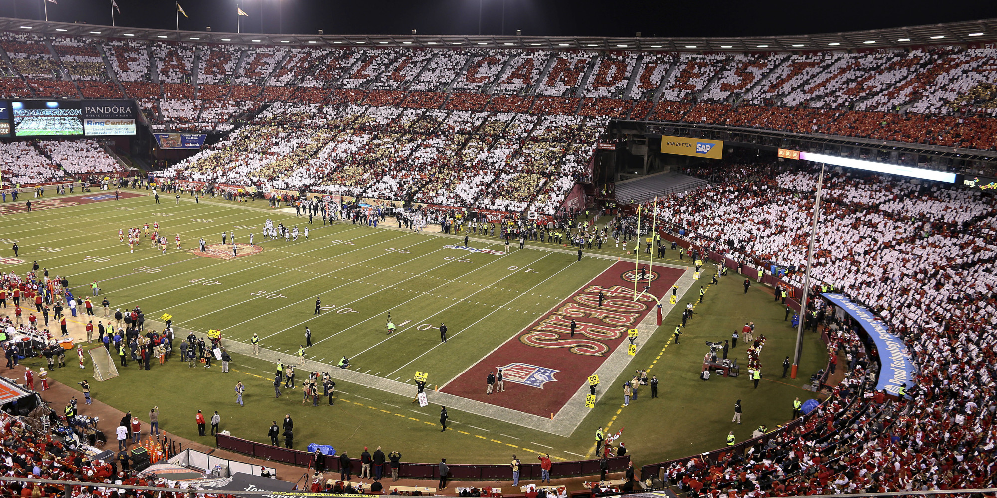 """Closer look at the 49ers football field at Candlestick with """"Farewell Candlestick"""" in the background."""