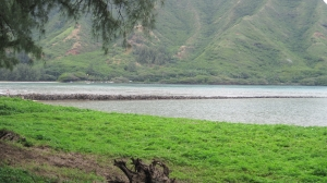 Kahana Bay and remains of the stone seawall.