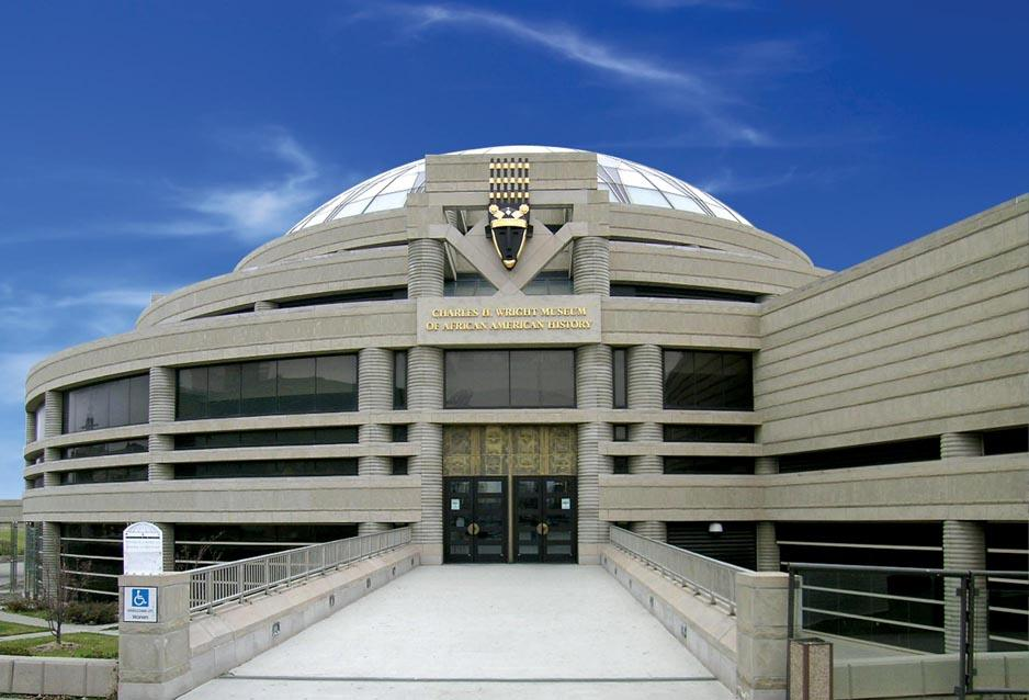 Front entrance of the the Charles H. Wright Museum of African American History in Detroit, Michigan.