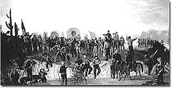 George Ottinger painting depicting the Mormon Battalion during their march through Arizona