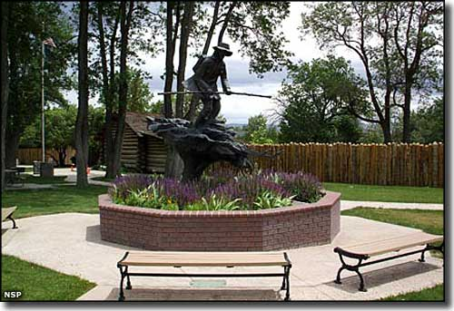 Statue to Snowshoe Thompson located in Mormon Station.