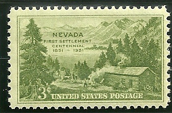 1951 postage stamp honoring the Mormon Station State Historic Park