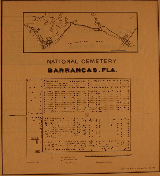 1893 Site Plan of Barrancas National Cemetery.