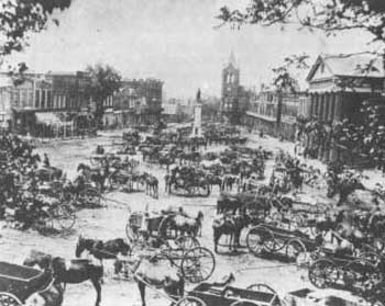1884 photo of Morgan Square and the Daniel Morgan Monument. Courtesy of the Spartanburg County Public Libraries Herald Journal collection
