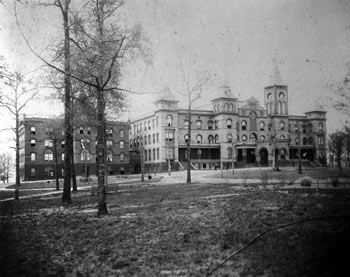 First building of Converse College, Wilson Hall, in 1890. Was the first and only building at the time and housed the students as well. Now serves as the Administrative Office. Courtesy of Converse College