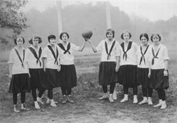 Women's college basketball team. Either from 1890s or early 1900s. Courtesy of Converse College