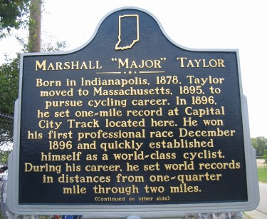"Historic Marker commemorating Marshall ""Major"" Taylor"