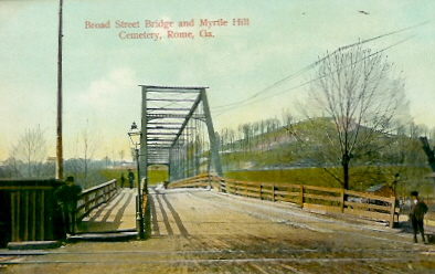 Old steel bridge with Myrtle Hill in the background