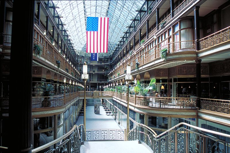 The Arcade is a popular shopping area and one of four National Historic Landmarks in Cleveland.