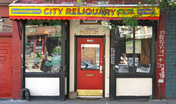The City Reliquary houses New York relics at 370 Metropolitan Avenue in Brooklyn.