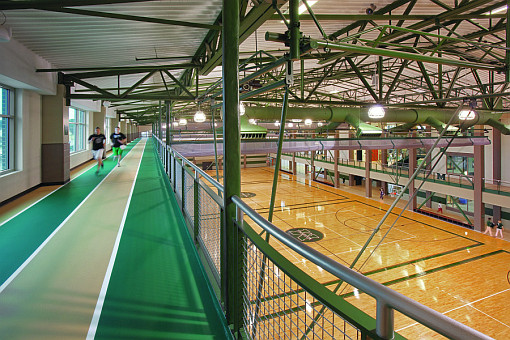 The running track and basketball courts in the Rec Center.