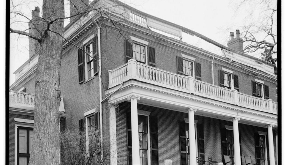 The facade of the house in 1939. The structure has been immaculately preserved since its construction in 1827--the only significant alteration was the addition of modern heating in the 1950s.