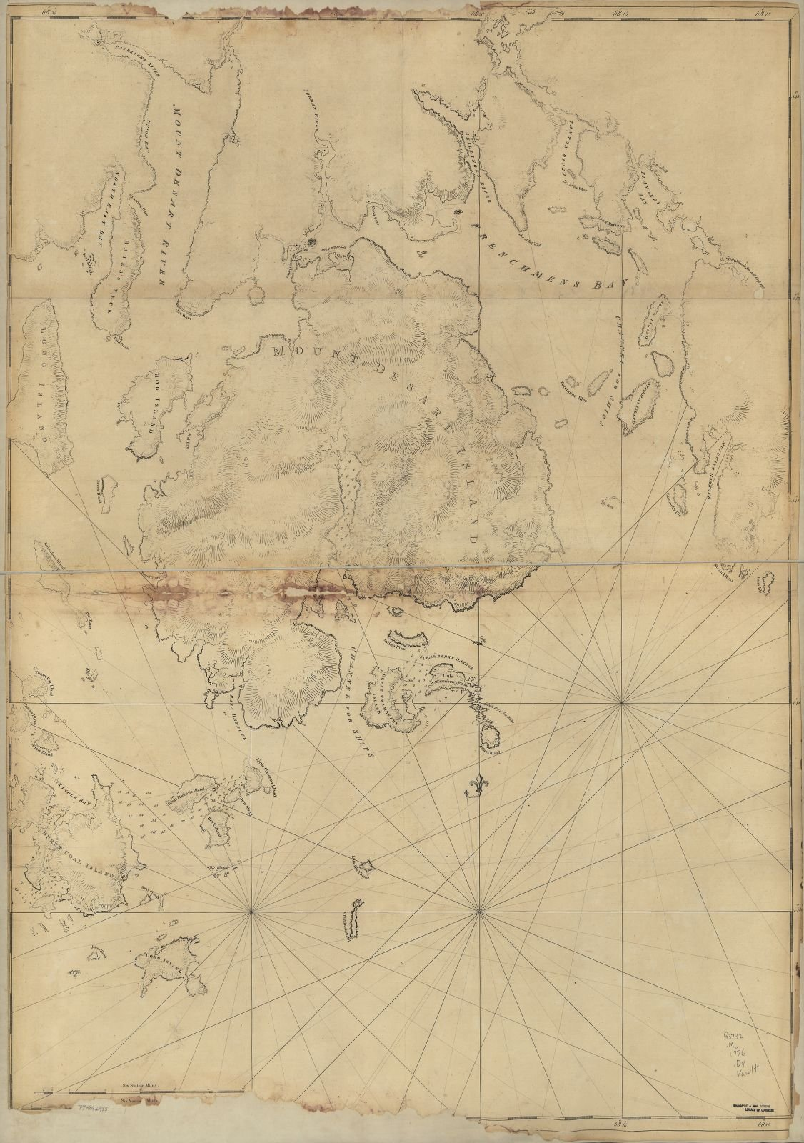 """A 1776 map of the Maine coastline nearby. Ellsworth is just off the upper left edge near the mouth of the """"Mount Desert River"""" (now called Union River). Col. Black may have led his militia to Mt. Desert Island during the War of 1812."""