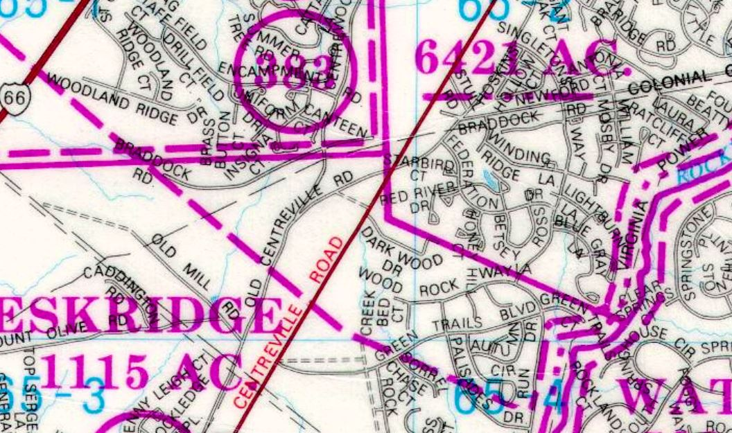 Map of 1760 Land Grants overlaid onto 1980 street map. Point P (at center of map)