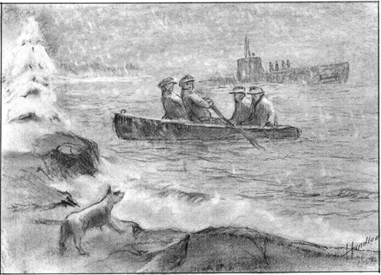Artist's rendition of the spies being brought ashore. One version of the story claims that the boat had to return to the submarine for sausages, needed to feed a suspicious dog that began barking as they landed. (Frank W. Handlen).