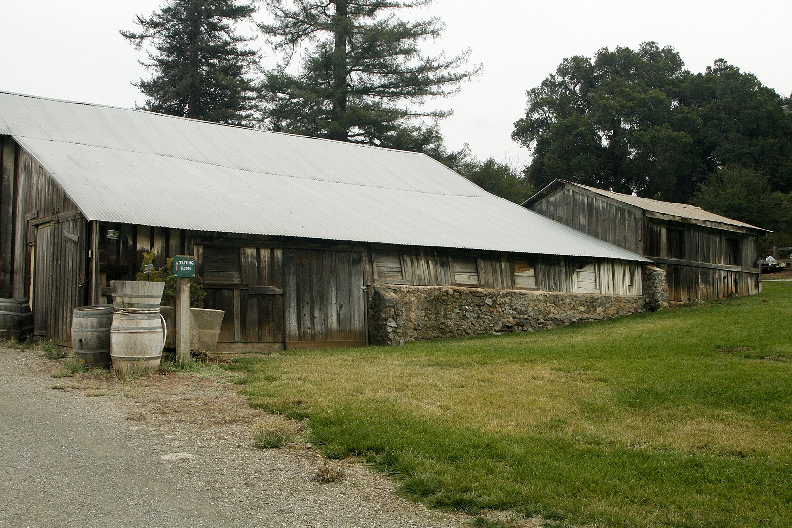 Picchetti Brothers Winery — the wine tasting barn and several historic buildings at Picchetti Ranch, in the Santa Cruz Mountains, Santa Clara County, California.