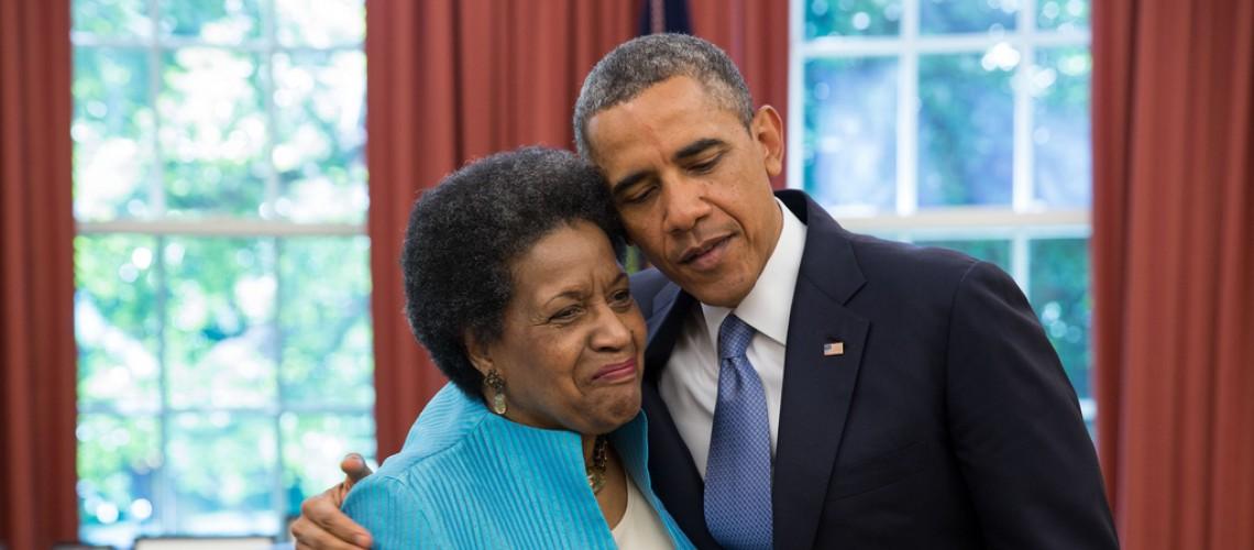 Myrlie Evers-Williams and President Obama.