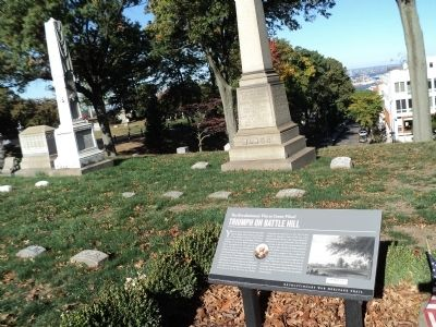 This 2013 photo by Bill Coughlin shows the historical marker located at Battle Hill, inside Brooklyn's Green-Wood Cemetery