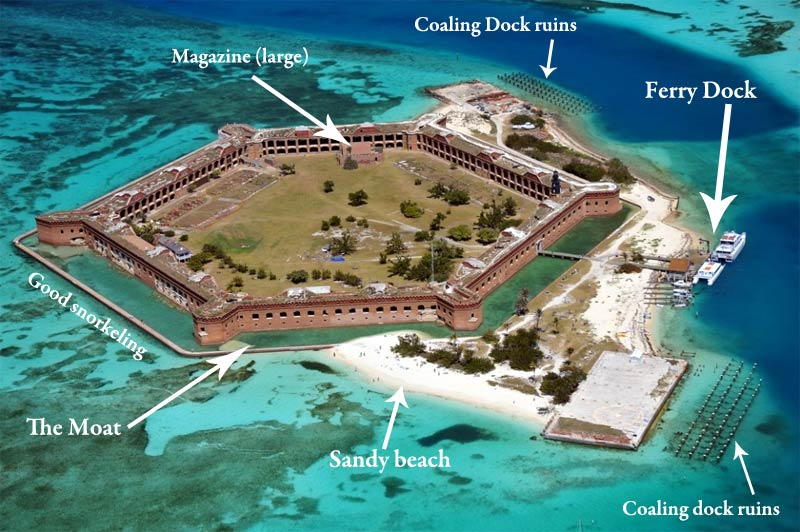 Aerial map of the island and Fort Jefferson
