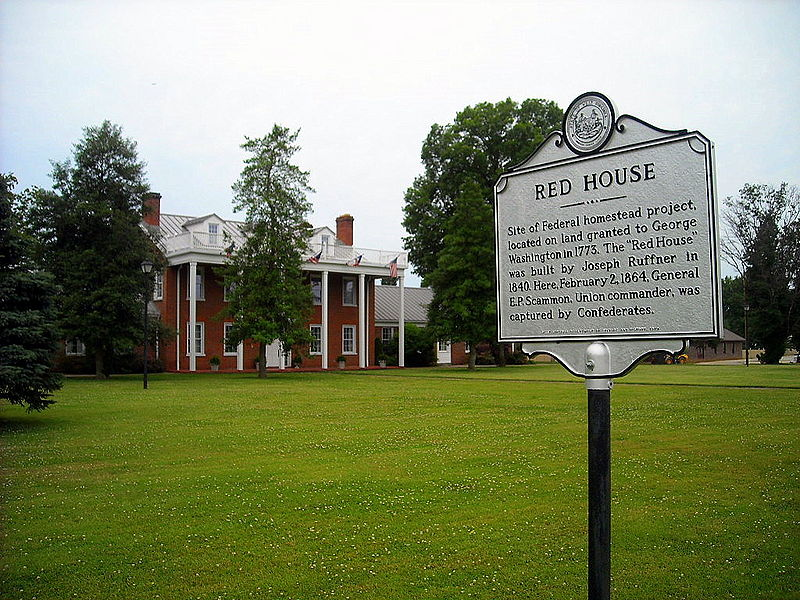 "The ""Red House"" at Eleanor, West Virginia was built by Joseph Ruffner in 1840 and now serves as city hall. It is said to have a secret tunnel leading to the river that was used as a underground railroad. 