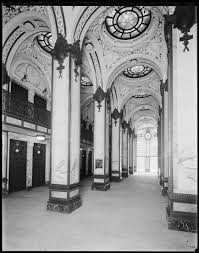 Interior of the Singer Building. Notice the narrow dimensions .